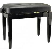 Steinbach Klavierbank in Schwarz poliert schwarzem Kunstlederbezug Bild 1