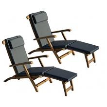 Teakholz Deckchair mit Auflage  Bild 1