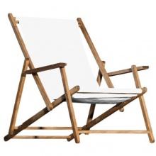 Jan Kurtz Deckchair weiss Teak Holz klappbar Bild 1