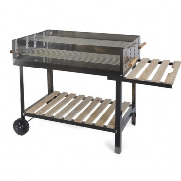 edelstahl bbq holzkohle grill 145x92x60cm test. Black Bedroom Furniture Sets. Home Design Ideas