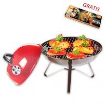 Eleganter tragbarer Minigrill HOLZKOHLE GRILL im BBQ-Style, 36 cm, Picknickgrill Bild 1