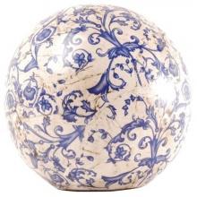 Esschert Design Dekokugel, Gartenkugel aus Keramik in blau-weiß, Größe L, Ø ca. 18 cm Bild 1