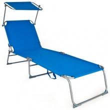 TecTake® Gartenliege Sonnendach 190cm blau Bild 1