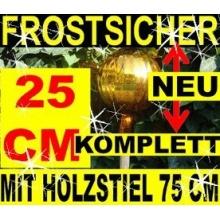 Gartenkugel 25 cm, Gartenkugel KOMPLETT MIT HOLZ-STIEL Bild 1