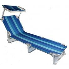 Liege RHODOS mit Sonnendach Liegestuhl Gartenliege Sonnenliege OCEAN BLUE Tragkraft bis zu 120 kg Bild 1