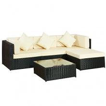 Gartenlounge Möbel schwarz beige Bild 1