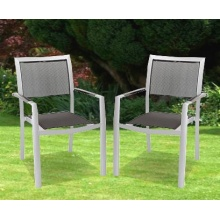 2er Set Gartensessel schwarz Aluminium Bild 1