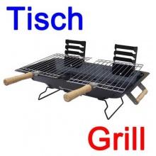 Tischgrill Metall Holzgriffe und Stahlsockel, Barbeque (LHS) Bild 1
