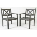 2tlg. Set taupe grau Holz Gartenstühle Bild 1