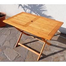 Gartentisch 120x70cm Eukalyptusholz Bild 1