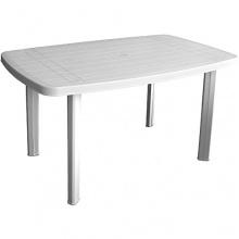 Gartentisch 138x87cm Kunststoff Weiss Bild 1