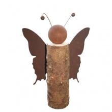 Gartenfigur Schmetterling auf Baumstamm Rost 40cm Bild 1