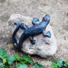 Gartenfigur Gecko auf Stein, 2er Set Bild 1