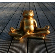 GOLDENER GLÜCKS FROSCH IM LOTUSSITZ MEDITIEREND, Yoga, Feng-Shui Bild 1