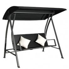 3-Sitzer Hollywoodschaukel Polyrattan 360kg Schwarz Bild 1