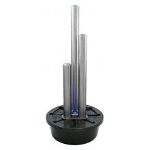 121cm/100cm Säulenbrunnen aus gebürstetem Edelstahl mit LED-Beleuchtung Bild 1