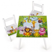 Kindersitzgruppe,1 Tisch,2 Stühle,Dschungel,Leomark Bild 1