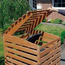 Promex Vario III Mülltonnenbox für 1 Tonne, braun Bild 1