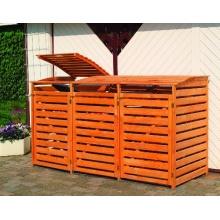 Promex Vario III Mülltonnenbox für 3 Tonnen, braun Bild 1