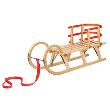 Impag Hörnerschlitten mit Zuggurt und Lehne Rot 125 cm Bild 1