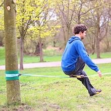 Relaxdays Slackline Set mit Baumschutz Hilfsseil Bild 1