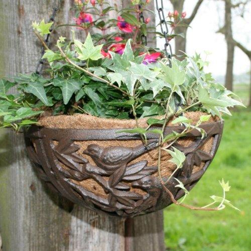 Blumenampel aus gusseisen mit vogel motiv 26cm test - Gartendeko gusseisen ...