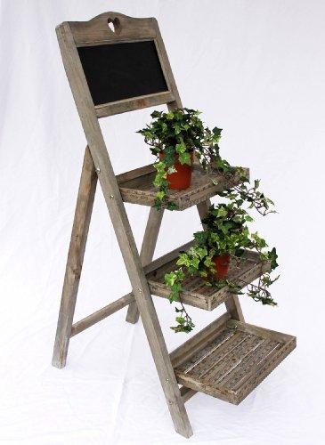Blumentreppe 12061 aus holz mit kreidetafel h 110cm test for Fioriera a scala