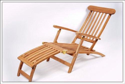 Massiver Teak Deckchair mit verstellbarer Rückenlehne Bild 1