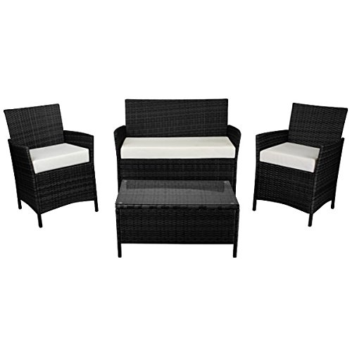 gartenlounge 7tlg rattan titan schwarz test. Black Bedroom Furniture Sets. Home Design Ideas