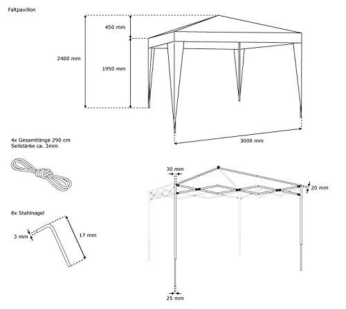 jarolift faltpavillon 3x3 m basic gartenpavillon test. Black Bedroom Furniture Sets. Home Design Ideas