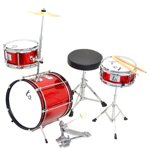 4 teiliges kinder drumset schlagzeug in rot metallic test. Black Bedroom Furniture Sets. Home Design Ideas