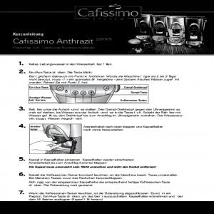 Bedienungsanleitung Tchibo Kaffeemaschine Cafissimo Anthrazit