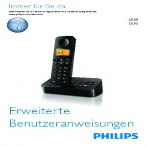 Bedienungsanleitung Philips D2051B/38 Schnurloses Telefon DECT schwarz